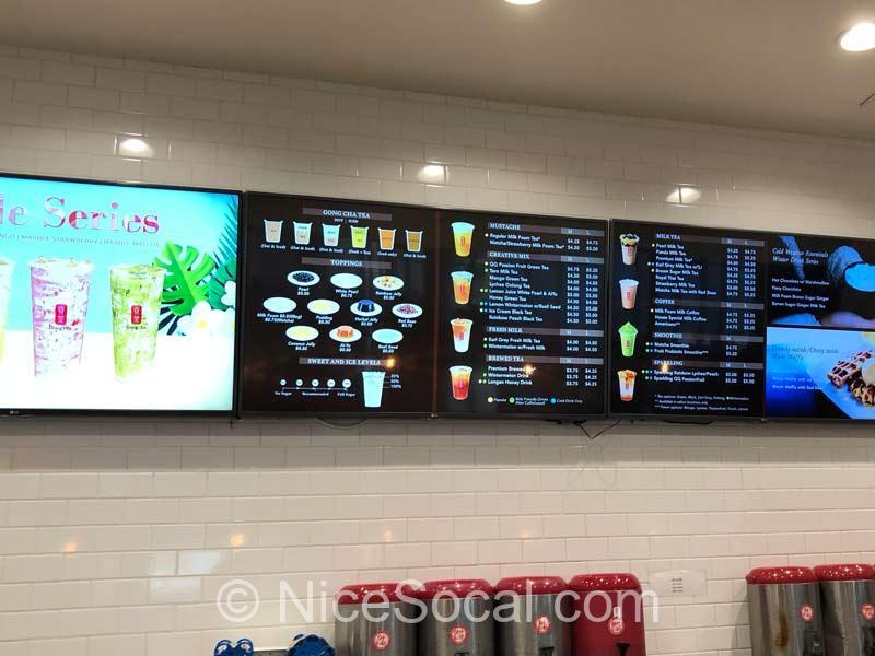 menu at gong cha